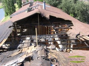 severely damaged roof