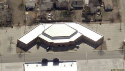 Ariel view of commercial duro-last roof