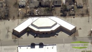 Arial view of commercial roof